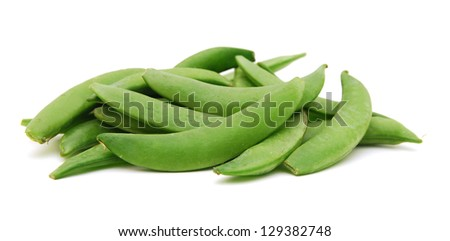 Pods of green pea sweet isolated on white - stock photo