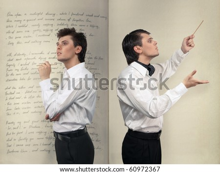 Poet and conductor art concept - stock photo