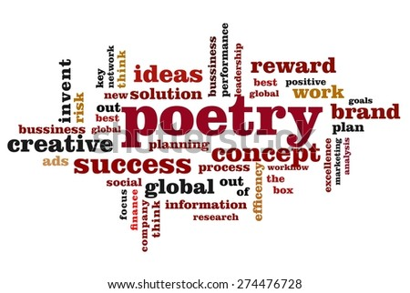poetry word cloud concept with white background - stock photo