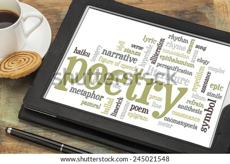 poetry word cloud on a digital tablet with cup of coffee - stock photo