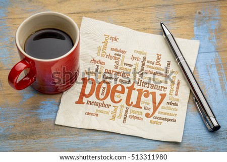 poetry word cloud on a napkin with a cup of coffee