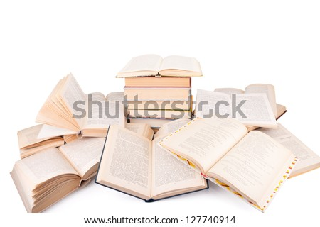 poile of old books isolated on white background - stock photo