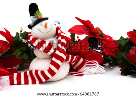 Poinsettia border with a snowman on a white background, Christmas Time