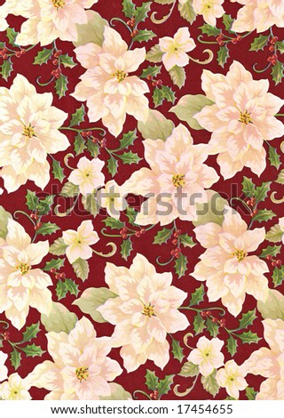 poinsettia - holly floral background