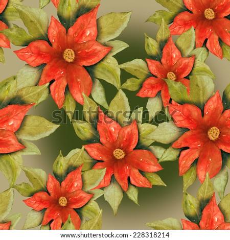 Poinsettia seamless pattern  - stock photo