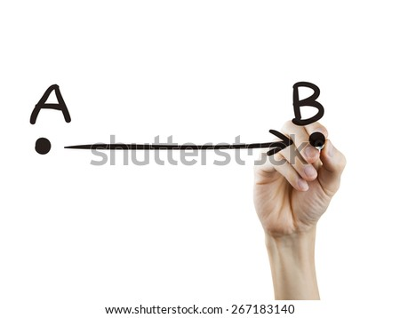 point A to B drawn by hand over white background - stock photo