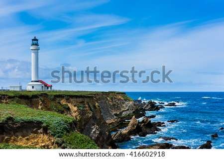Point Arena Lighthouse in California  - stock photo