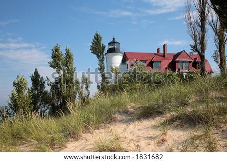 Point Betsie Lighthouse and Sand Dunes, Lake Michigan - stock photo