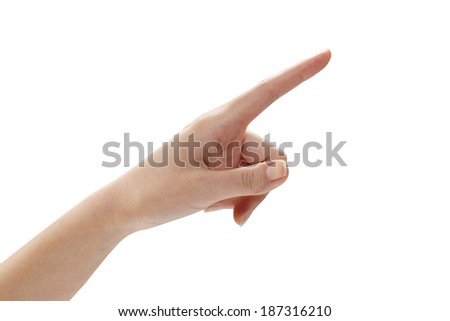 point finger, isolated on a white background