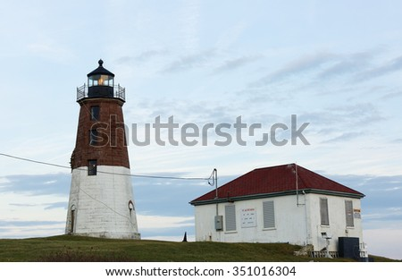 Point Judith Lighthouse at Narragansett, RI, USA. The lighthouse  is located on the west side of the entrance to Narragansett Bay.
