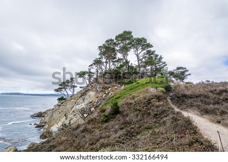 Point Lobos State Natural Reserve, with rock, Cypress Tree's, and geological formations along the rugged Big Sur coastline, near Carmel and Monterey, CA. on the California Central Coast - stock photo