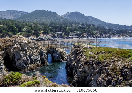 Point Lobos State Natural Reserve, with rock, water caves, and geological formations along the rugged Big Sur coastline, near Carmel and Monterey, CA. on the California Central Coast - stock photo