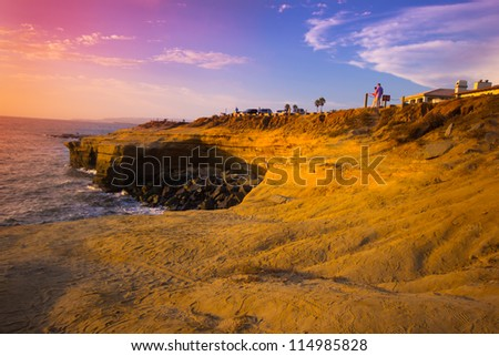 POINT LOMA, CA - AUG 12:  Shoreline at Sunset Cliffs Natural Park in Point Loma CA on Aug. 12, 2012. Dedicated in 1983, Sunset Cliffs Natural Park is a 68-acre  park stretching along the Pacific Ocean - stock photo
