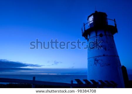 Point Montara Lighthouse at night, California - stock photo