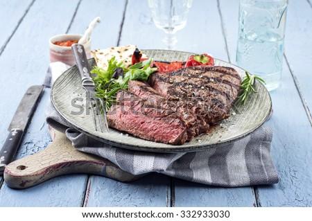 Point Steak on Plate - stock photo