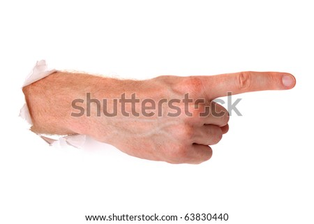 Point the finger isolated on white - stock photo