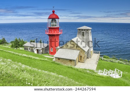 Pointe a la Renommee lighthouse, Quebec (Canada) - stock photo
