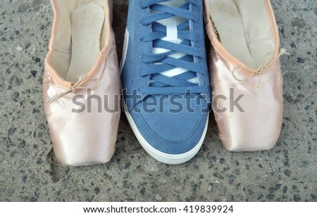 pointe and sneakers.what choice you make comfortable shoes or ballet.