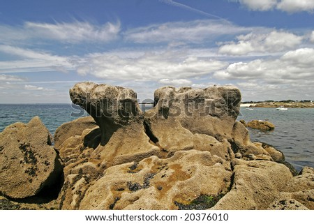 Pointe de Trevignon, Rocky coastline, Brittany, Northern France