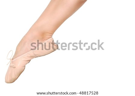Pointed Ballet Foot Isolated On White