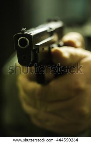 Pointed tactical gun - stock photo