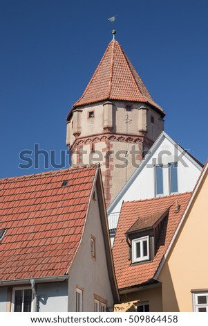 Pointed Tower, seen from the centre of Wertheim along the Romantic Road