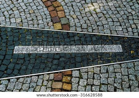 "Pointer on the road "" Paris."" - stock photo"