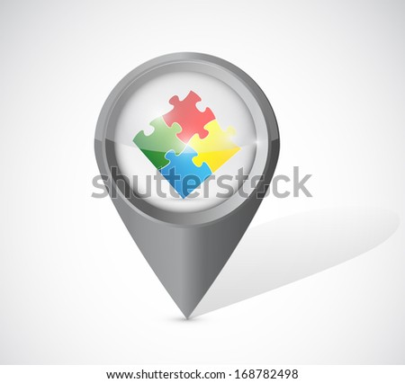 pointer puzzle pieces illustration design over a white background - stock photo