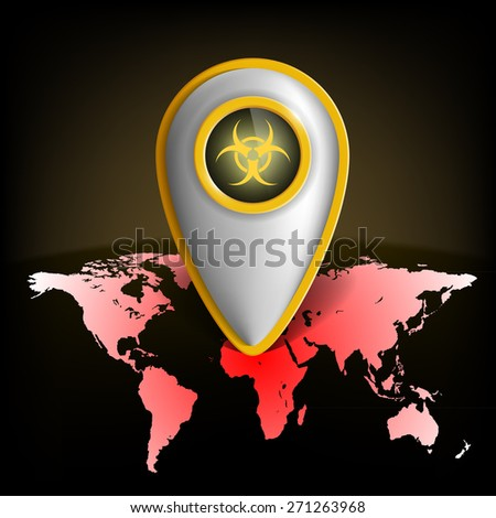 pointer with the biohazard symbol on a map of the earth - stock photo