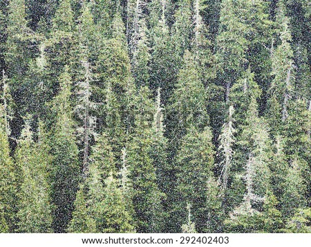 Pointillist abstract of mountain conifers in Olympic National Park, with effect of falling snow, for motifs of nature and conservation