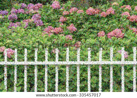 Pointillist abstract of white picket fence by hydrangea shrubs with pink flowers and green foliage, for illustration or background with themes of summer, gardening, or landscaping