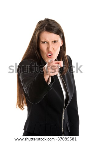 Pointing angry businesswoman holding somebody responsible isolated on white background - stock photo