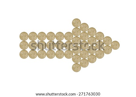 pointing arrow made out of one pound coins - stock photo