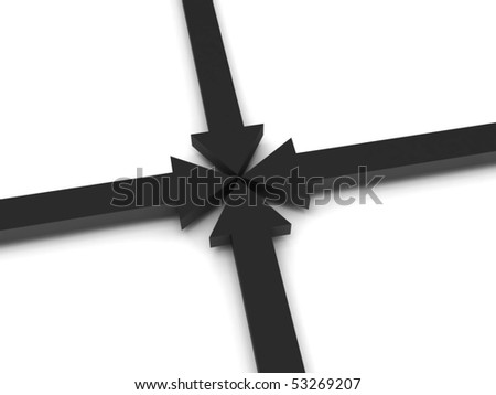 Pointing. 3D arrows isolated on white background. High quality 3d render.