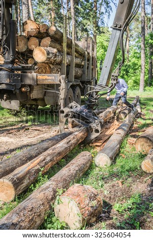 Pointing device downloads the timber carrier - stock photo