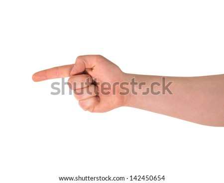 Pointing finger sign caucasian hand gesture isolated over white background