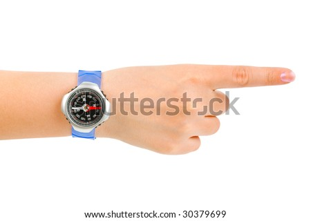 Pointing hand and compass isolated on white background