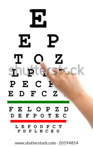 Pointing hand and eyesight test chart isolated on white background - stock photo