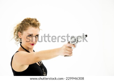 Pointing Hand Gun Pistol - White Blonde Female in black dress - stock photo
