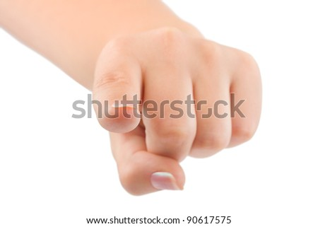 Pointing hand - isolated on white background