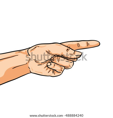 Pointing hand. One finger showing the way. Illustration in comic style isolated on white