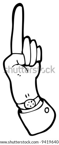pointing hand sign cartoon (raster version)