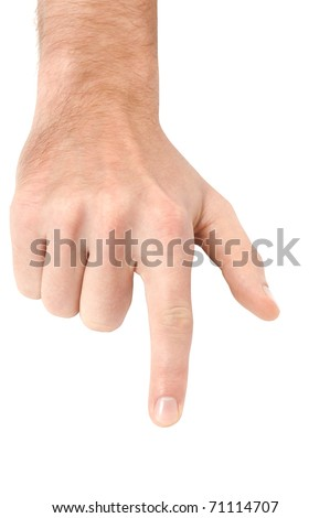 Pointing male hand isolated on white background with clipping path. - stock photo