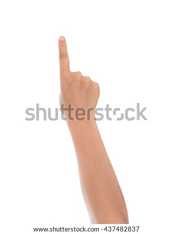 pointing the finger, female hand, isolated on white background with clipping path