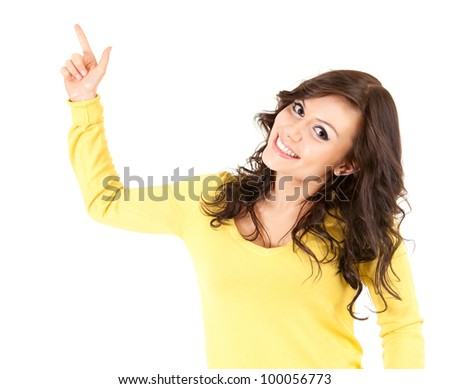 pointing up smiling teenage girl, white background