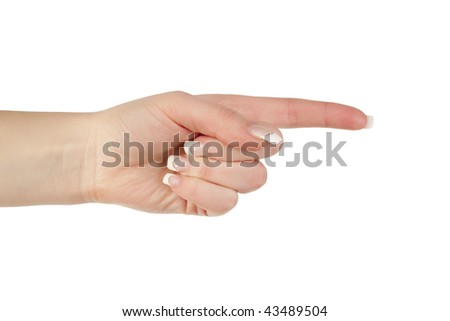 Pointing with finger gesture - stock photo
