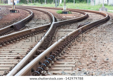 points and curves rail tracks - stock photo