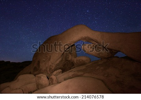 Points of Light Star Long Exposure Over Joshua Tree National Park - stock photo