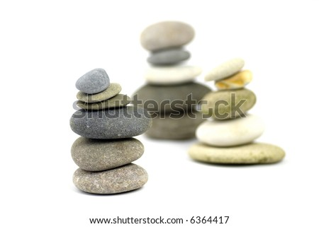 poised stacks of stones; differential focus