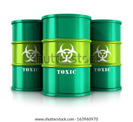 Poisonous and dangerous materials disposal and utilization industry concept: group of green metal barrels, drums or containers with poison, hazardous or radioactive materials isolated on white - stock photo
